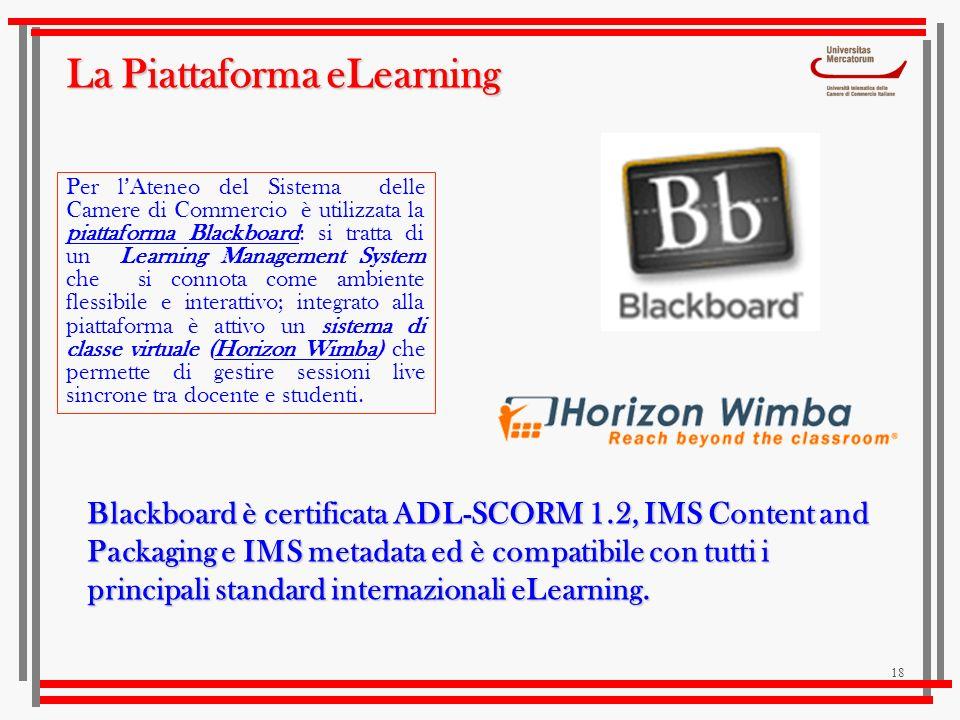 18 La Piattaforma eLearning Blackboard è certificata ADL-SCORM 1.2, IMS Content and Packaging e IMS metadata ed è compatibile con tutti i principali s