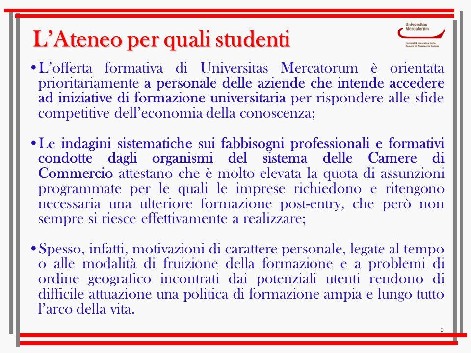 5 Lofferta formativa di Universitas Mercatorum è orientata prioritariamente a personale delle aziende che intende accedere ad iniziative di formazione