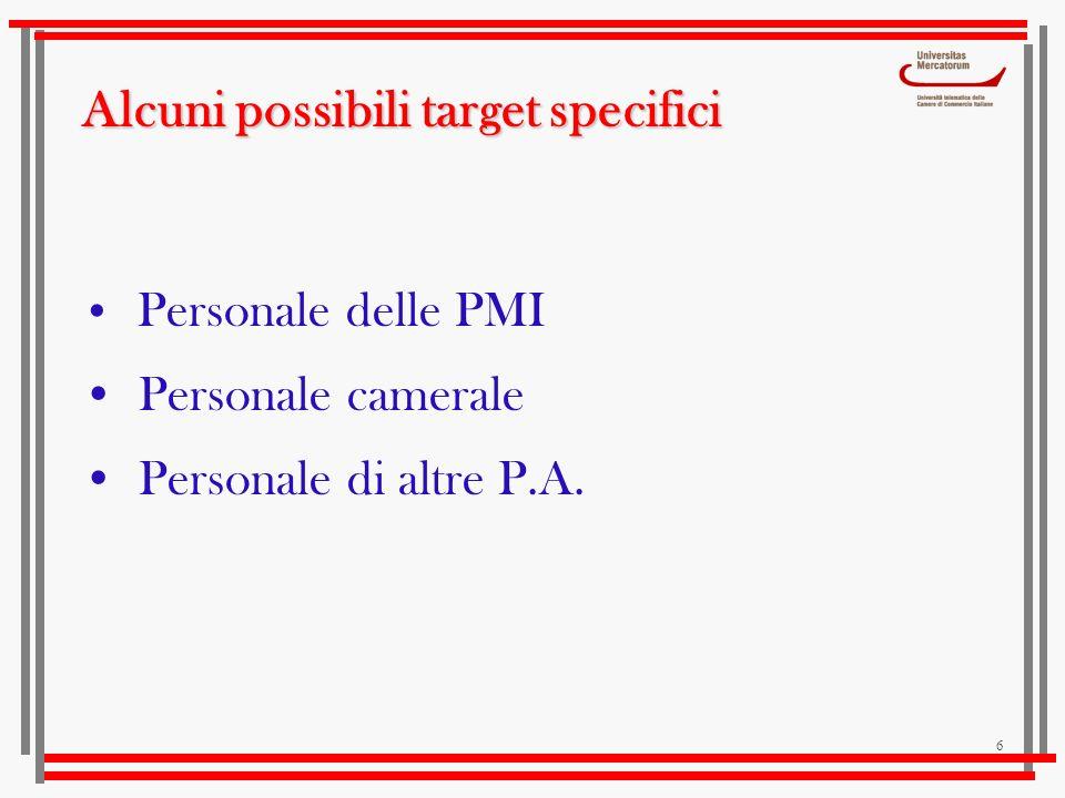 6 Alcuni possibili target specifici Personale delle PMI Personale camerale Personale di altre P.A.