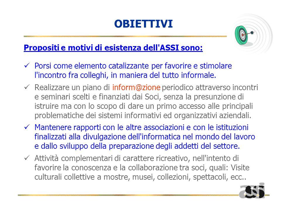 Propositi e motivi di esistenza dell'ASSI sono: Porsi come elemento catalizzante per favorire e stimolare l'incontro fra colleghi, in maniera del tutt