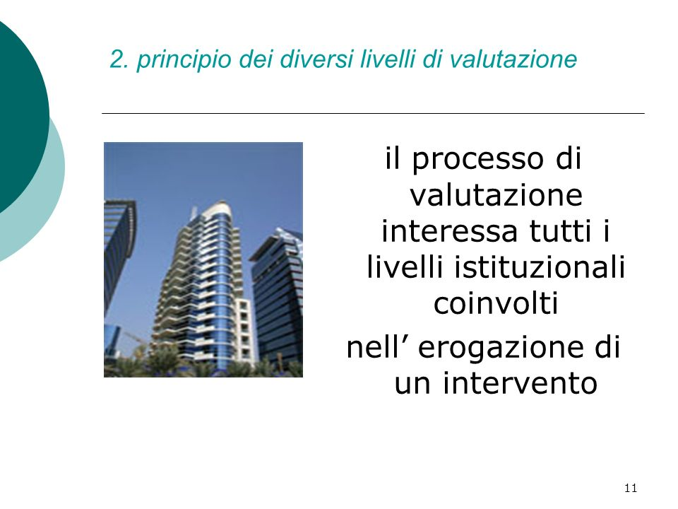 11 2. principio dei diversi livelli di valutazione il processo di valutazione interessa tutti i livelli istituzionali coinvolti nell erogazione di un