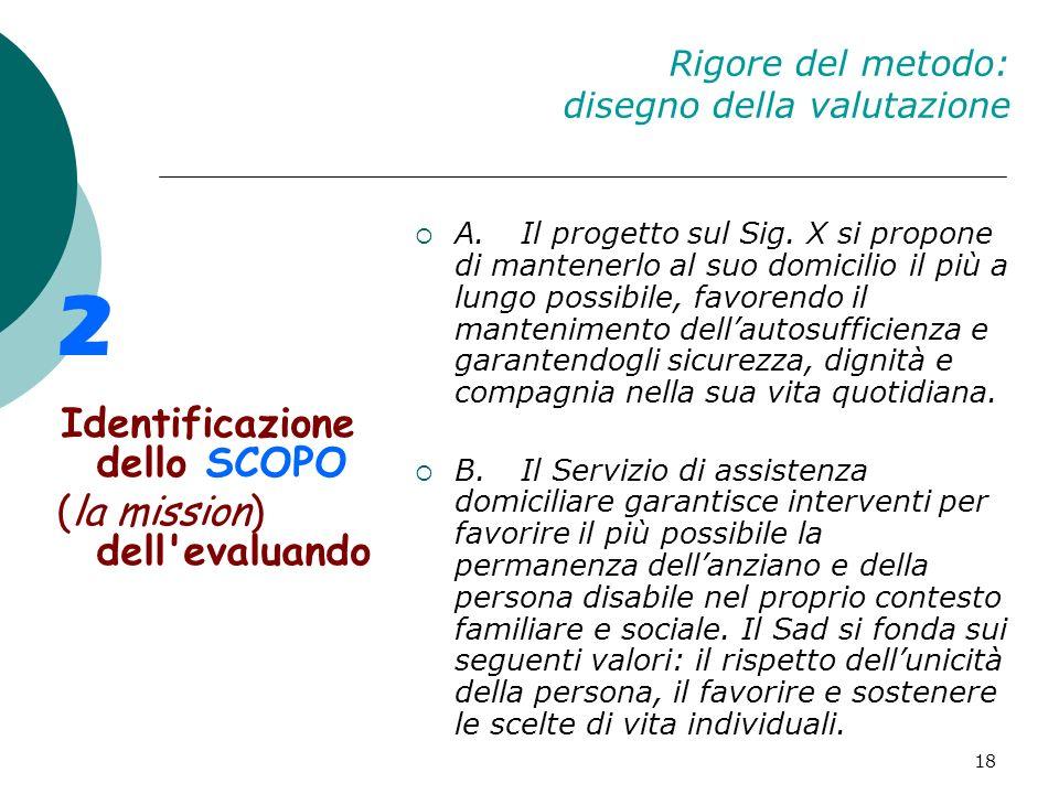 18 Rigore del metodo: disegno della valutazione 2 Identificazione dello SCOPO (la mission) dell'evaluando A.Il progetto sul Sig. X si propone di mante