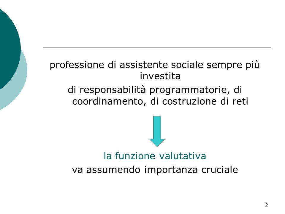 2 professione di assistente sociale sempre più investita di responsabilità programmatorie, di coordinamento, di costruzione di reti la funzione valuta
