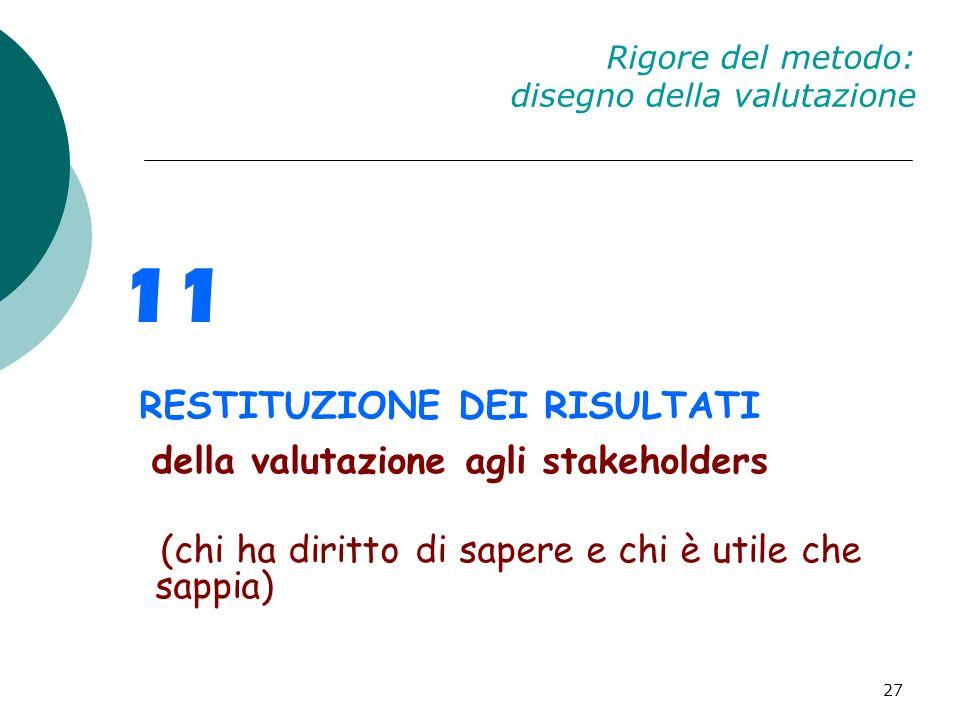 27 Rigore del metodo: disegno della valutazione 11 RESTITUZIONE DEI RISULTATI della valutazione agli stakeholders (chi ha diritto di sapere e chi è ut