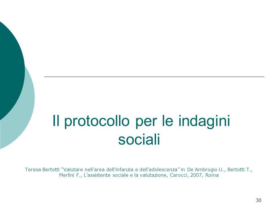30 Il protocollo per le indagini sociali Teresa Bertotti Valutare nellarea dellinfanzia e delladolescenza in De Ambrogio U., Bertotti T., Merlini F.,
