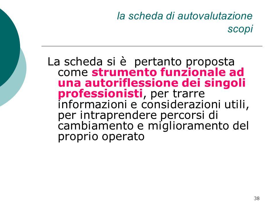 38 la scheda di autovalutazione scopi La scheda si è pertanto proposta come strumento funzionale ad una autoriflessione dei singoli professionisti, pe