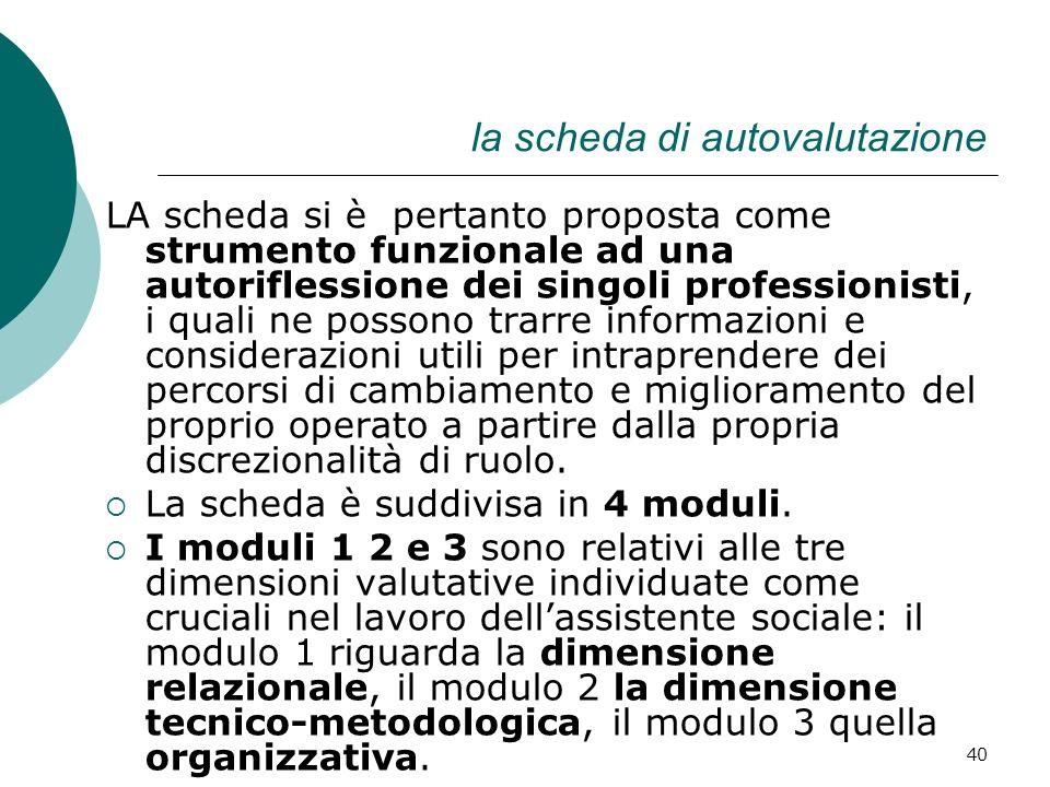 40 la scheda di autovalutazione LA scheda si è pertanto proposta come strumento funzionale ad una autoriflessione dei singoli professionisti, i quali