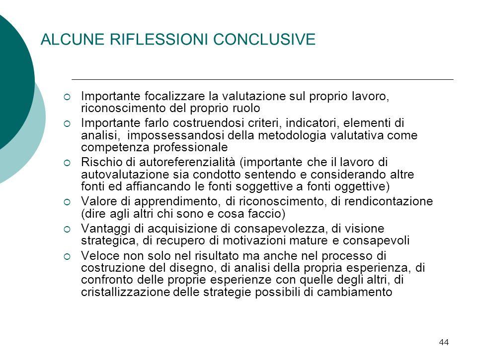 44 ALCUNE RIFLESSIONI CONCLUSIVE Importante focalizzare la valutazione sul proprio lavoro, riconoscimento del proprio ruolo Importante farlo costruend