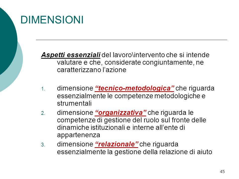 45 DIMENSIONI Aspetti essenziali del lavoro\intervento che si intende valutare e che, considerate congiuntamente, ne caratterizzano lazione 1. dimensi