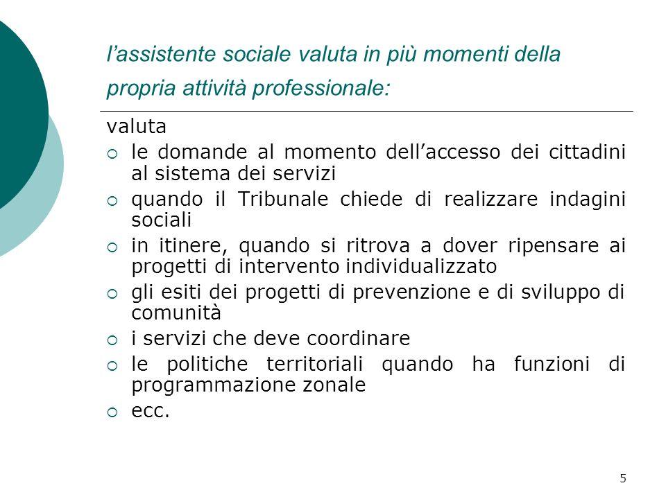 5 lassistente sociale valuta in più momenti della propria attività professionale: valuta le domande al momento dellaccesso dei cittadini al sistema de