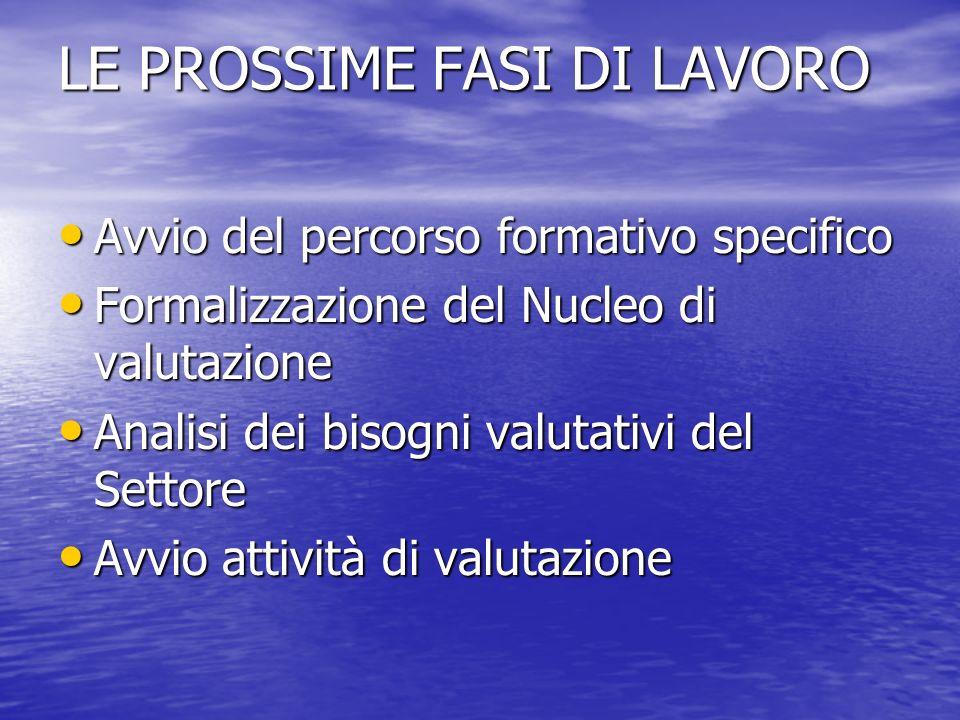 LE PROSSIME FASI DI LAVORO Avvio del percorso formativo specifico Avvio del percorso formativo specifico Formalizzazione del Nucleo di valutazione For