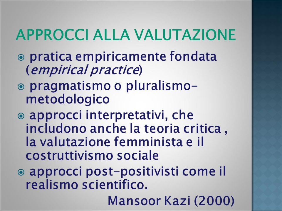 APPROCCI ALLA VALUTAZIONE pratica empiricamente fondata (empirical practice) pragmatismo o pluralismo- metodologico approcci interpretativi, che inclu