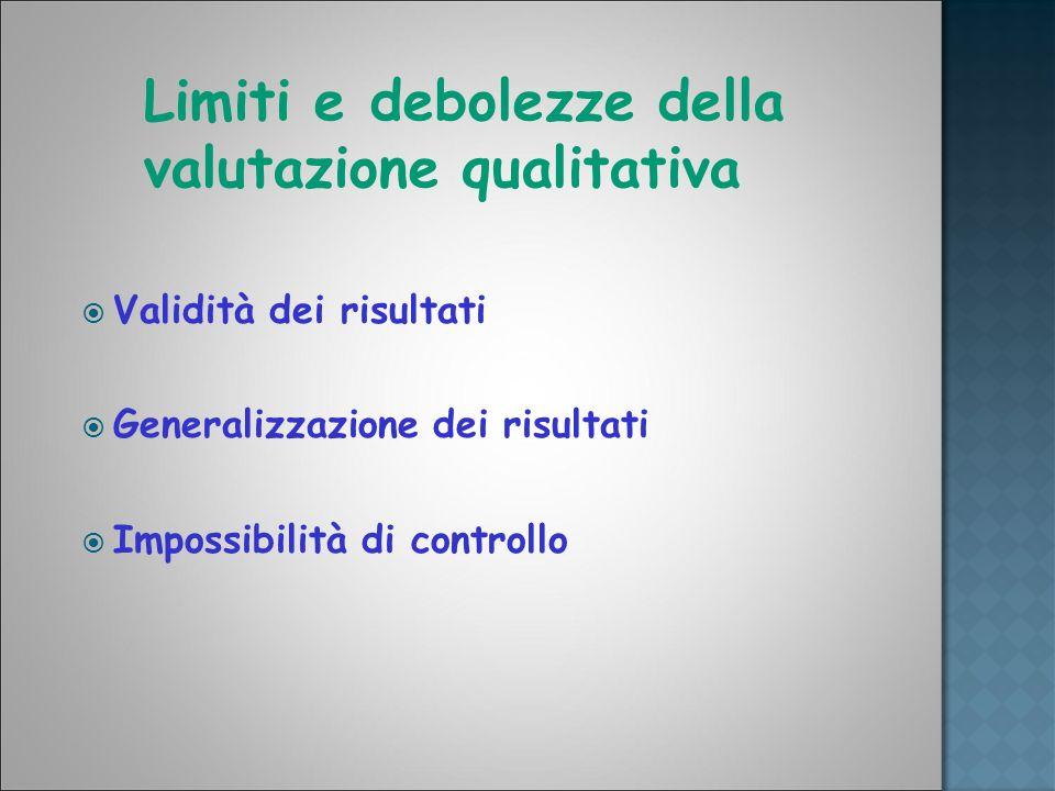 Limiti e debolezze della valutazione qualitativa Validità dei risultati Generalizzazione dei risultati Impossibilità di controllo