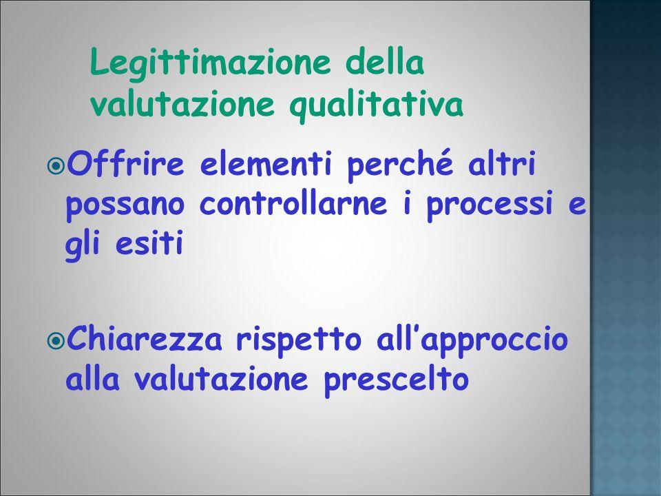 Legittimazione della valutazione qualitativa Offrire elementi perché altri possano controllarne i processi e gli esiti Chiarezza rispetto allapproccio