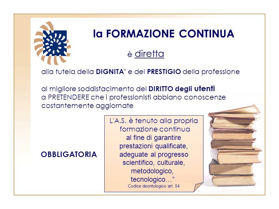 la FORMAZIONE CONTINUA alla tutela della DIGNITA e del PRESTIGIO della professione al migliore soddisfacimento del DIRITTO degli utenti a PRETENDERE c