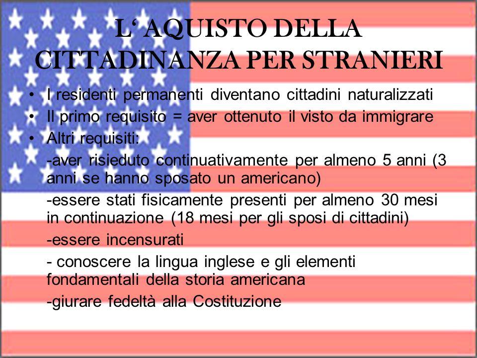 L AQUISTO DELLA CITTADINANZA PER STRANIERI I residenti permanenti diventano cittadini naturalizzati Il primo requisito = aver ottenuto il visto da imm