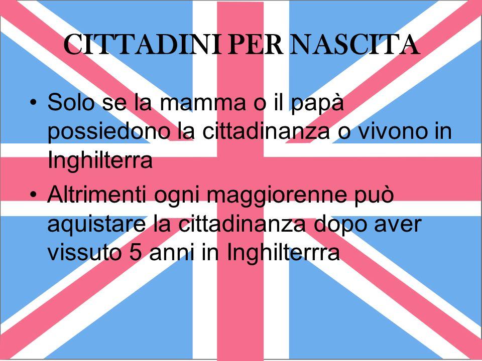CITTADINI PER NASCITA Solo se la mamma o il papà possiedono la cittadinanza o vivono in Inghilterra Altrimenti ogni maggiorenne può aquistare la citta