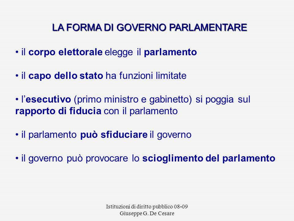 Istituzioni di diritto pubblico 08-09 Giuseppe G. De Cesare GOVERNO DIRETTORIALE Direttorio ( capo dello stato collegiale – governo) Parlamento Corpo