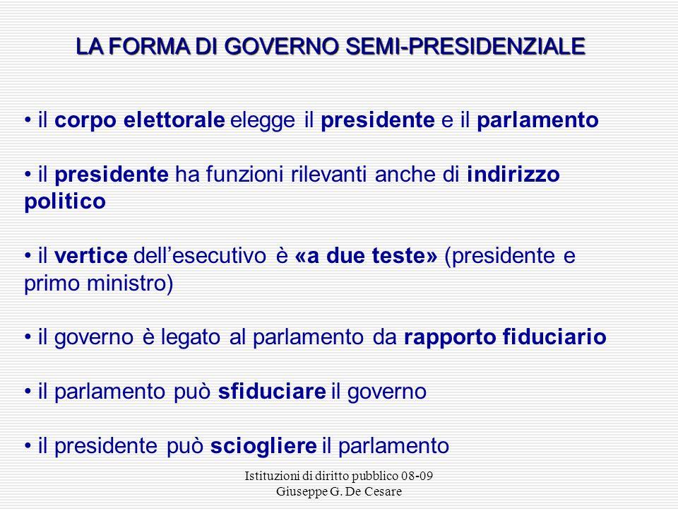 Istituzioni di diritto pubblico 08-09 Giuseppe G. De Cesare GOVERNO PARLAMENTARE Presidente Corpo elettorale Parlamento Governo