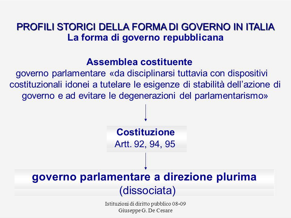 Istituzioni di diritto pubblico 08-09 Giuseppe G. De Cesare PROFILI STORICI DELLA FORMA DI GOVERNO IN ITALIA PROFILI STORICI DELLA FORMA DI GOVERNO IN