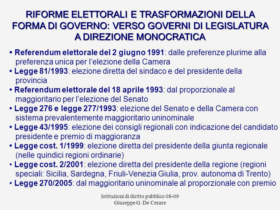 Istituzioni di diritto pubblico 08-09 Giuseppe G. De Cesare PROFILI STORICI DELLA FORMA DI GOVERNO IN ITALIA La forma di governo repubblicana Assemble