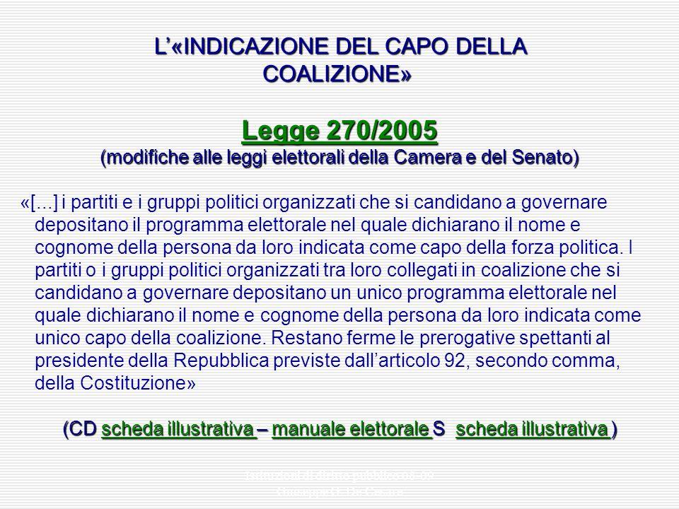 Istituzioni di diritto pubblico 08-09 Giuseppe G. De Cesare BIPOLARISMO E ALTERNANZA Le elezioni politiche: maggioritario uninominale (1994- 2001) * (