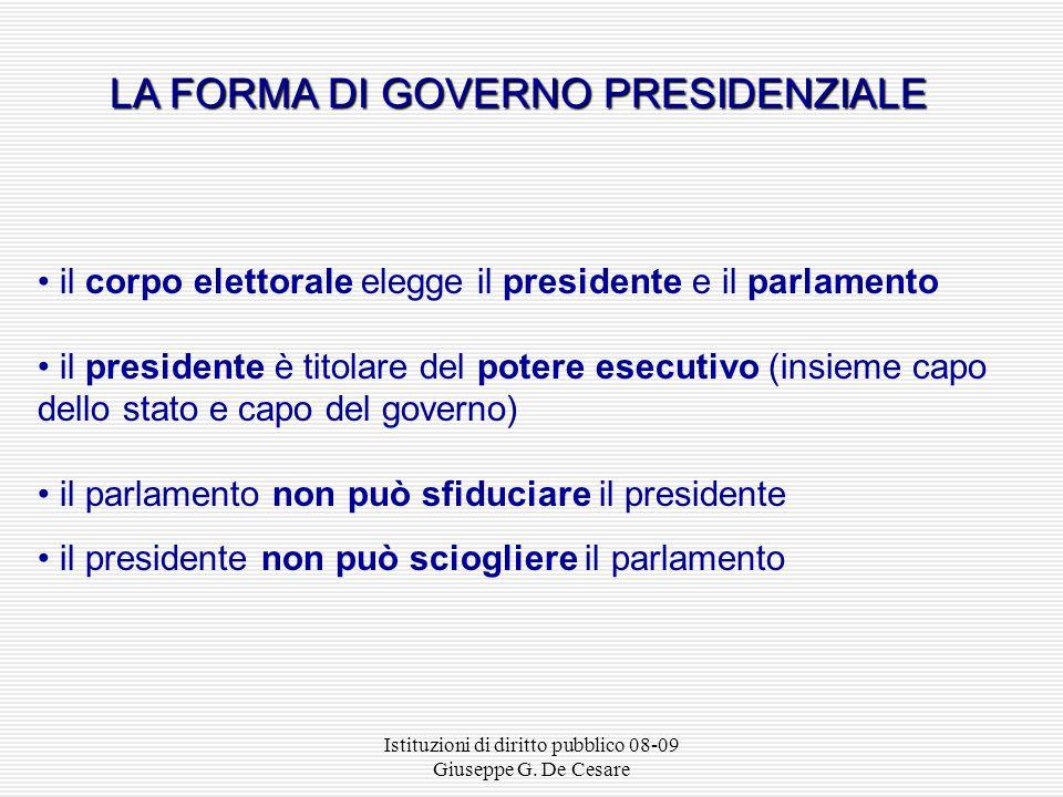 Istituzioni di diritto pubblico 08-09 Giuseppe G. De Cesare Monarchia costituzionale Repubblica presidenzialeRepubblica direttoriale Monarchia orleani