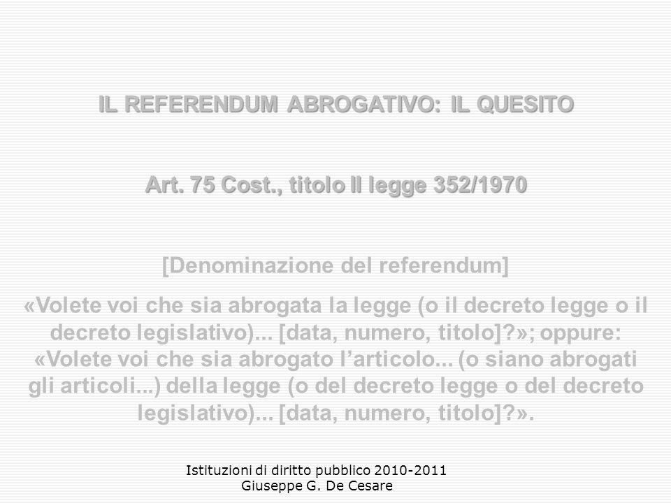 Istituzioni di diritto pubblico 2010-2011 Giuseppe G.