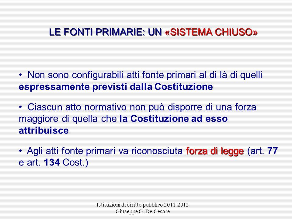 Istituzioni di diritto pubblico 2011-2012 Giuseppe G. De Cesare norme di rango costituzionale Le norme di rango costituzionale: leggi di revisione cos