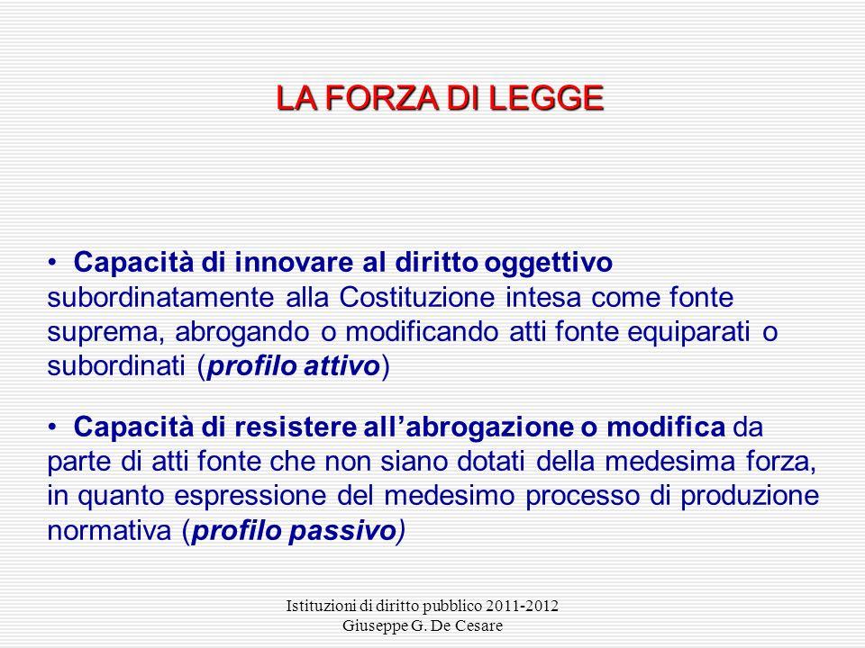 Istituzioni di diritto pubblico 2011-2012 Giuseppe G. De Cesare Non sono configurabili atti fonte primari al di là di quelli espressamente previsti da