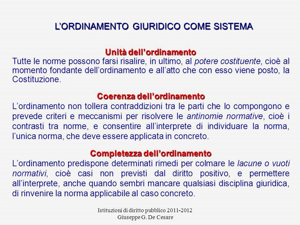 Istituzioni di diritto pubblico 2011-2012 Giuseppe G. De Cesare IL SISTEMA COSTITUZIONALE DELLE FONTI Costituzione Costituzione ( fonte sulle fonti) F