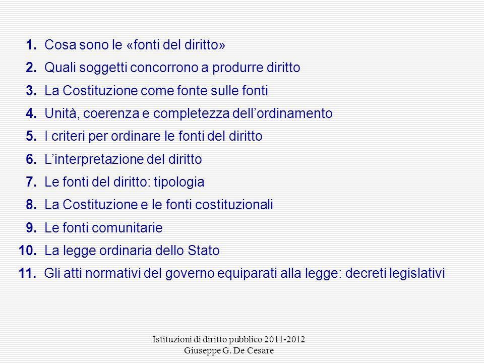 Istituzioni di diritto pubblico 2011-2012 Giuseppe G. De Cesare Le fonti del diritto