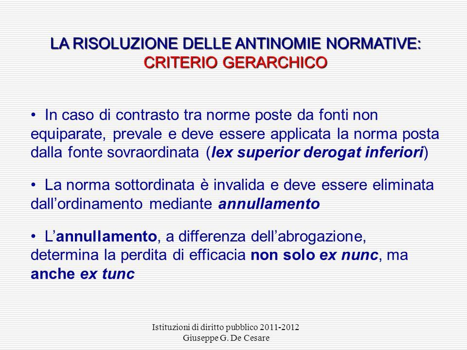 Istituzioni di diritto pubblico 2011-2012 Giuseppe G. De Cesare Esempio: art. 55 d.lgs. 177/2005 «Le disposizioni contenute nel presente testo unico n