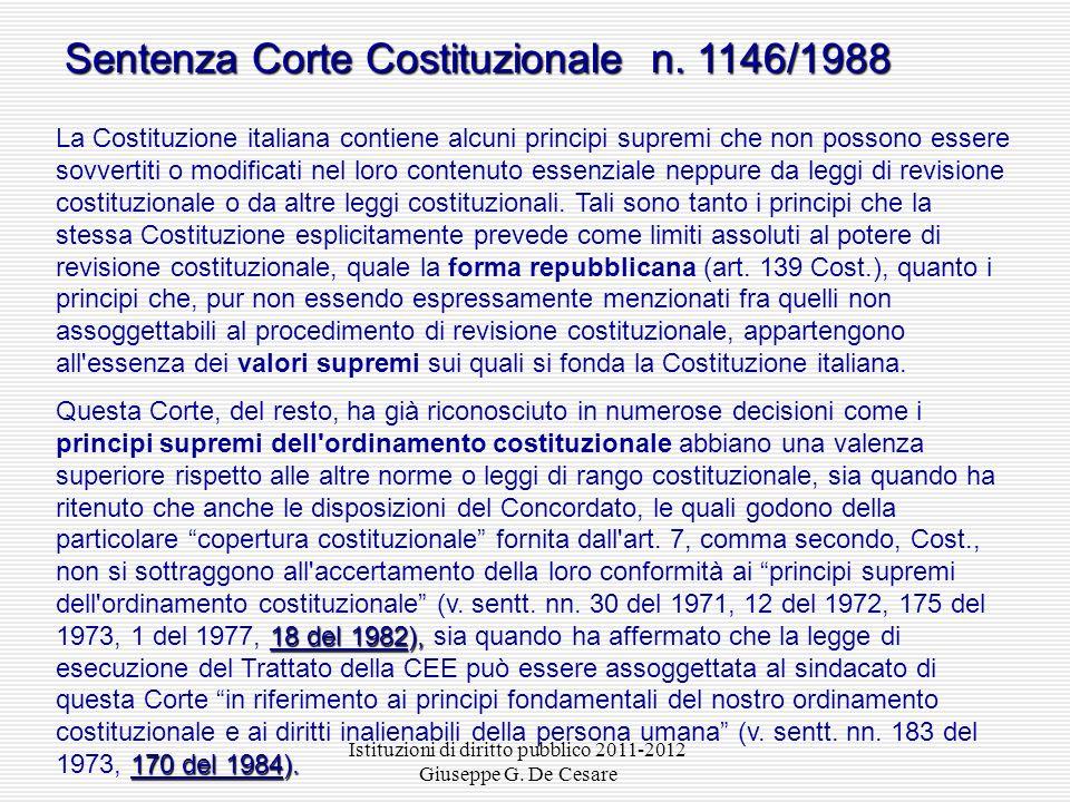 Istituzioni di diritto pubblico 2011-2012 Giuseppe G. De Cesare I LIMITI ALLA REVISIONE COSTITUZIONALE forma repubblicana Limite espresso: la «forma r