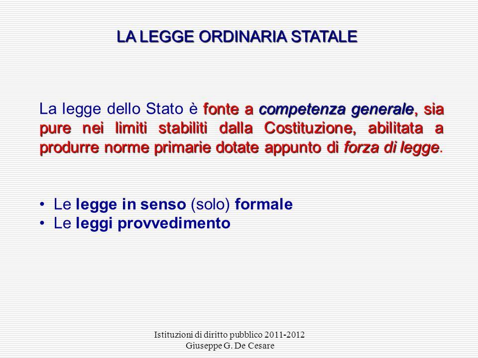 Istituzioni di diritto pubblico 2011-2012 Giuseppe G. De Cesare Corte costituzionale «Vi è un punto fermo nella costruzione giurisprudenziale dei rapp