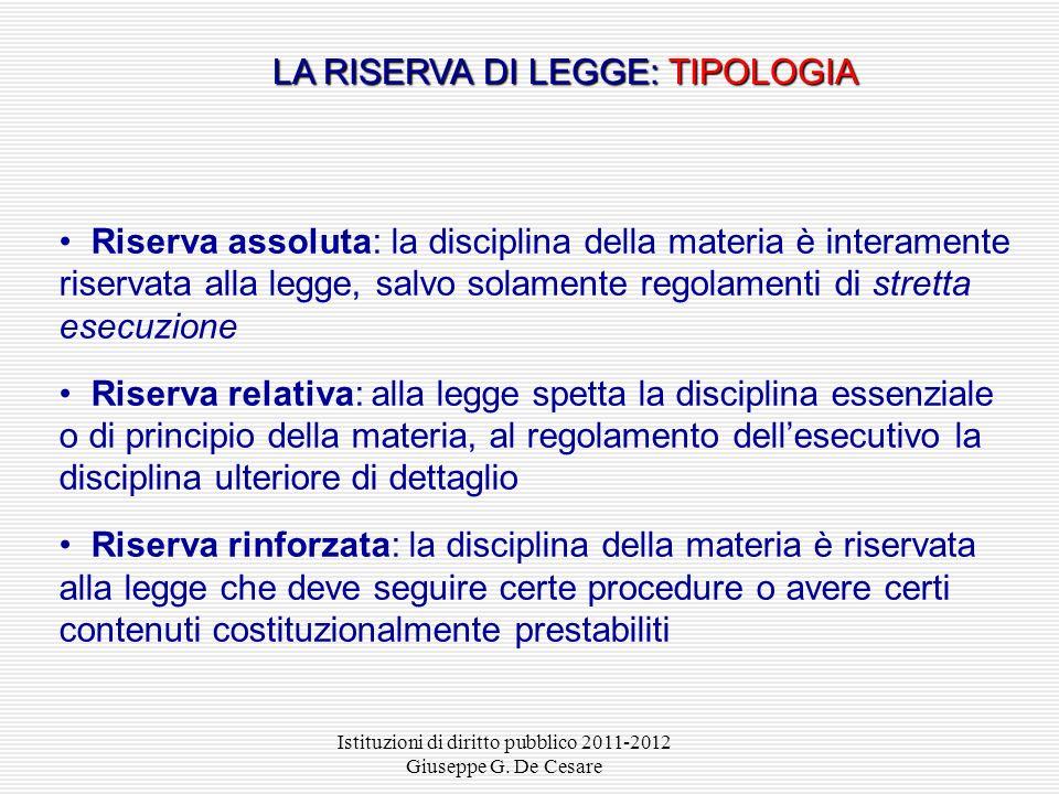 Istituzioni di diritto pubblico 2011-2012 Giuseppe G. De Cesare Listituto della riserva di legge designa i casi in cui disposizioni costituzionali att