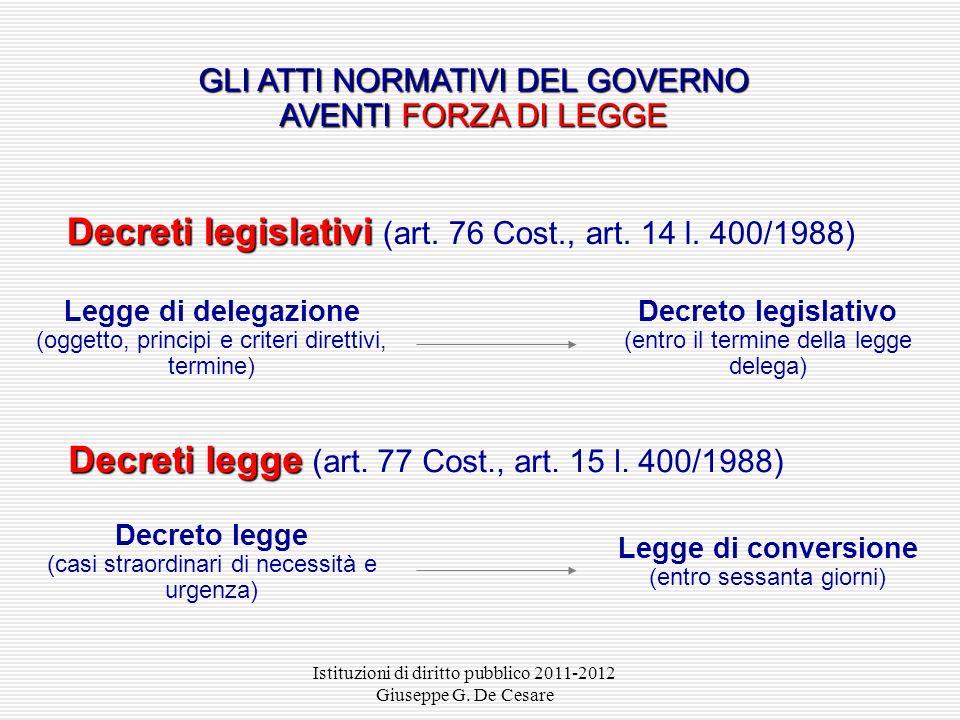 Istituzioni di diritto pubblico 2011-2012 Giuseppe G. De Cesare ATTI CON FORZA DI LEGGE Gli atti con forza di legge sono atti normativi che pur non av
