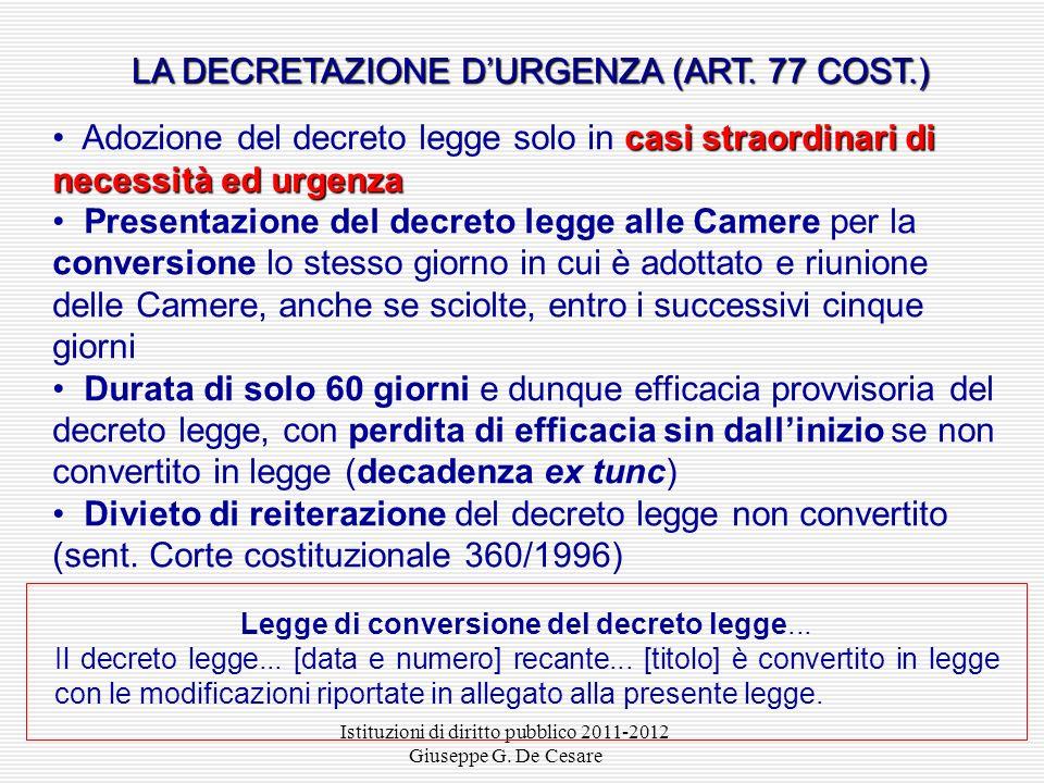 Istituzioni di diritto pubblico 2011-2012 Giuseppe G. De Cesare IL PROCEDIMENTO DI PRODUZIONE NORMATIVA DELEGATA Parlamento legge di delegazione Gover