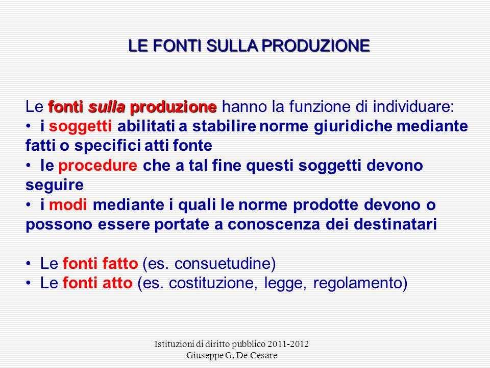 Istituzioni di diritto pubblico 2011-2012 Giuseppe G. De Cesare Si chiamano fonti del diritto gli atti o i fatti che lordinamento giuridico abilita a