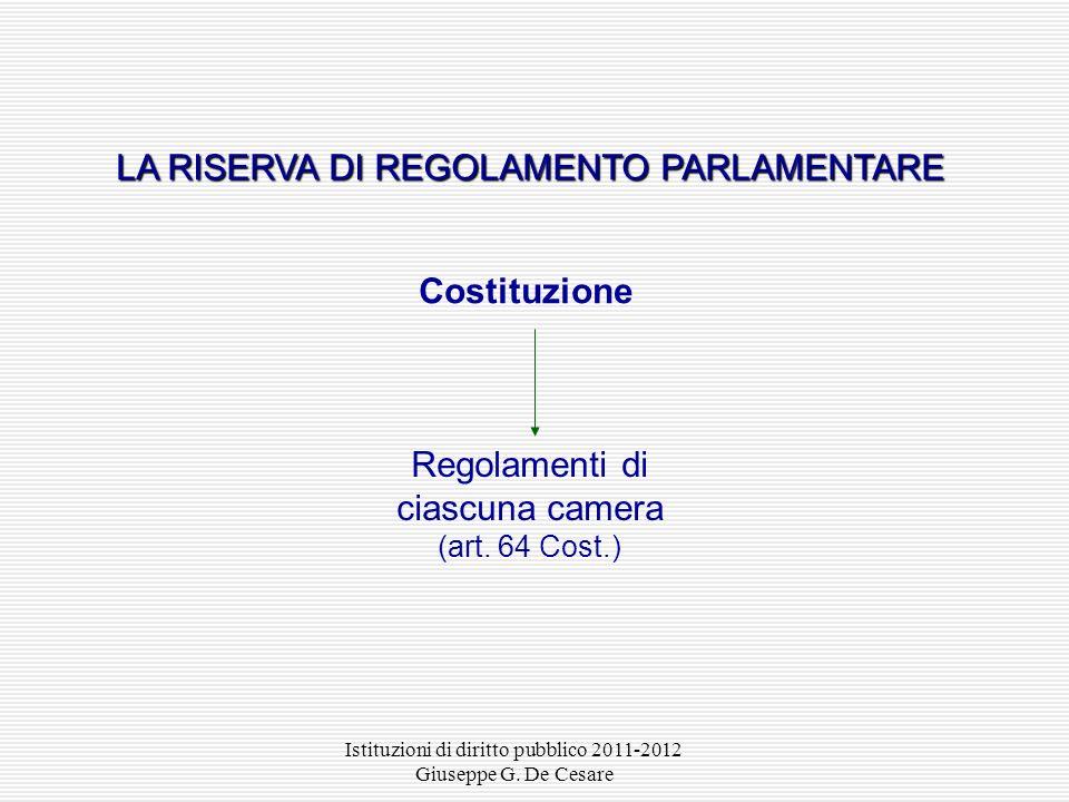 Istituzioni di diritto pubblico 2011-2012 Giuseppe G. De Cesare Regolamenti parlamentari (art. 64 Cost.) Regolamenti della Corte costituzionale (l. 87