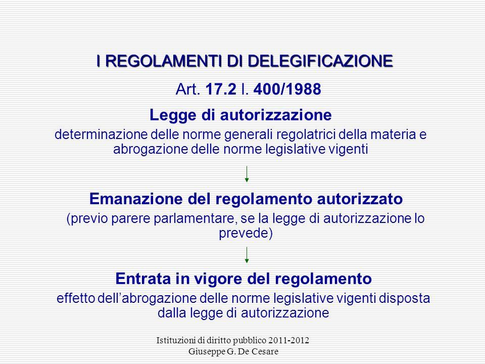 Istituzioni di diritto pubblico 2011-2012 Giuseppe G. De Cesare Consiglio dei ministri deliberazione schema di regolamento I REGOLAMENTI GOVERNATIVI P