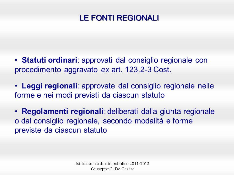 Istituzioni di diritto pubblico 2011-2012 Giuseppe G. De Cesare I REGOLAMENTI MINISTERIALI Ministro parere del Consiglio di stato comunicazione al pre