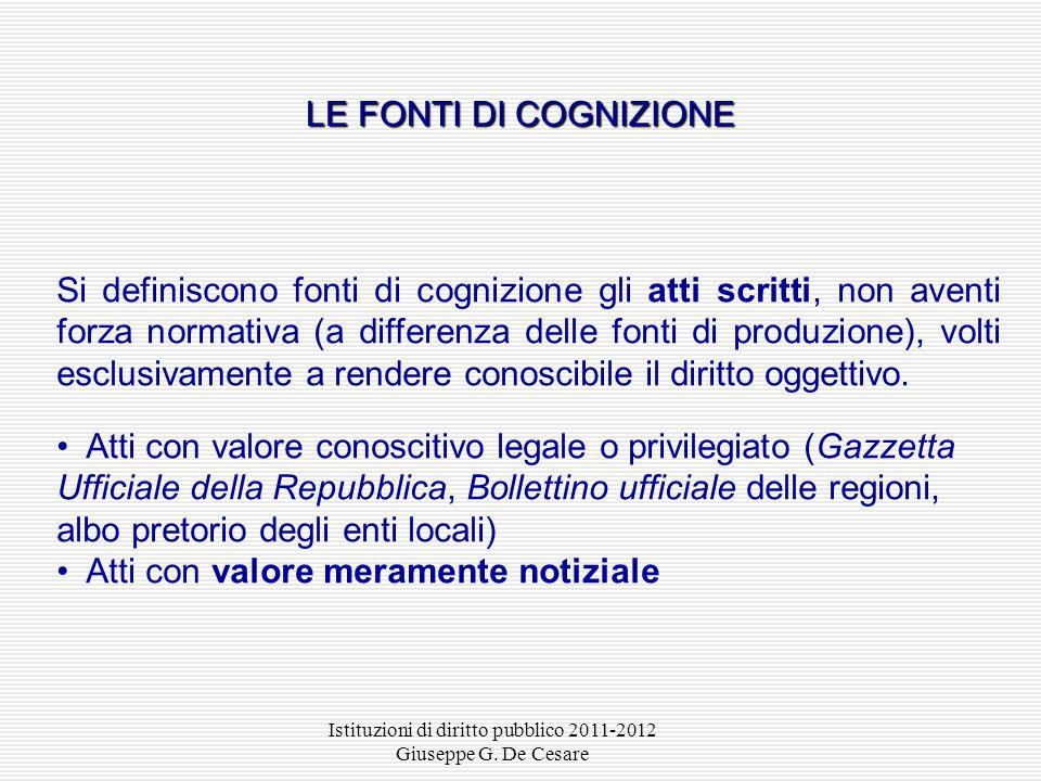 Istituzioni di diritto pubblico 2011-2012 Giuseppe G. De Cesare La consuetudine (o uso) è la fonte fatto per eccellenza, la quale consta di due elemen
