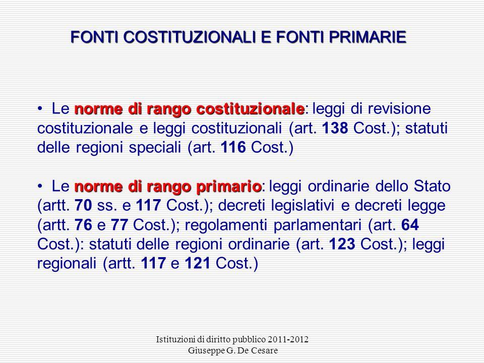 Istituzioni di diritto pubblico 2011-2012 Giuseppe G. De Cesare Art. 1 Indicazione delle fonti Sono fonti del diritto: 1) le leggi; 2) i regolamenti 3