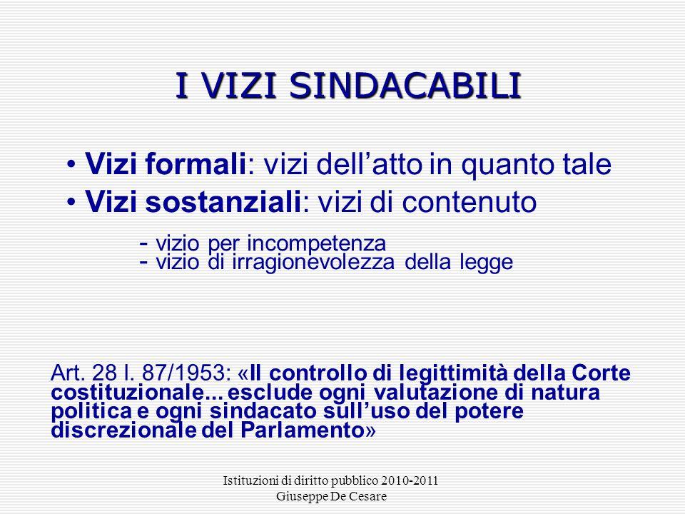 Istituzioni di diritto pubblico 2010-2011 Giuseppe De Cesare I VIZI SINDACABILI Vizi formali: vizi dellatto in quanto tale Vizi sostanziali: vizi di c