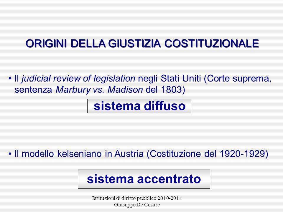 Istituzioni di diritto pubblico 2010-2011 Giuseppe De Cesare ORIGINI DELLA GIUSTIZIA COSTITUZIONALE ORIGINI DELLA GIUSTIZIA COSTITUZIONALE Il judicial