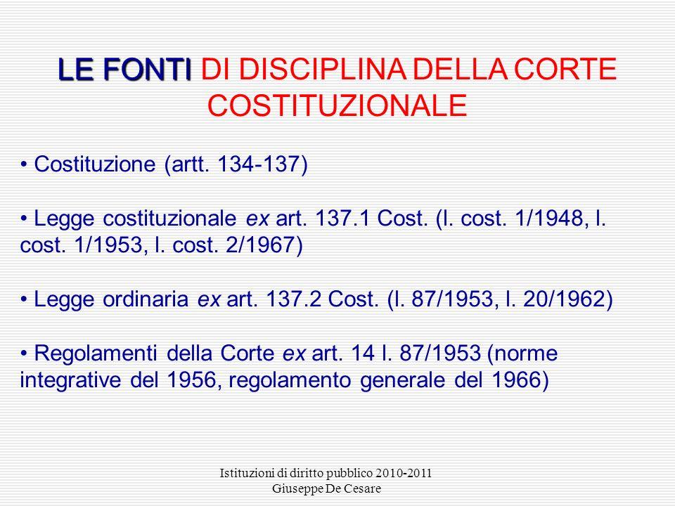 Istituzioni di diritto pubblico 2010-2011 Giuseppe De Cesare LE FONTI LE FONTI DI DISCIPLINA DELLA CORTE COSTITUZIONALE Costituzione (artt. 134-137) L