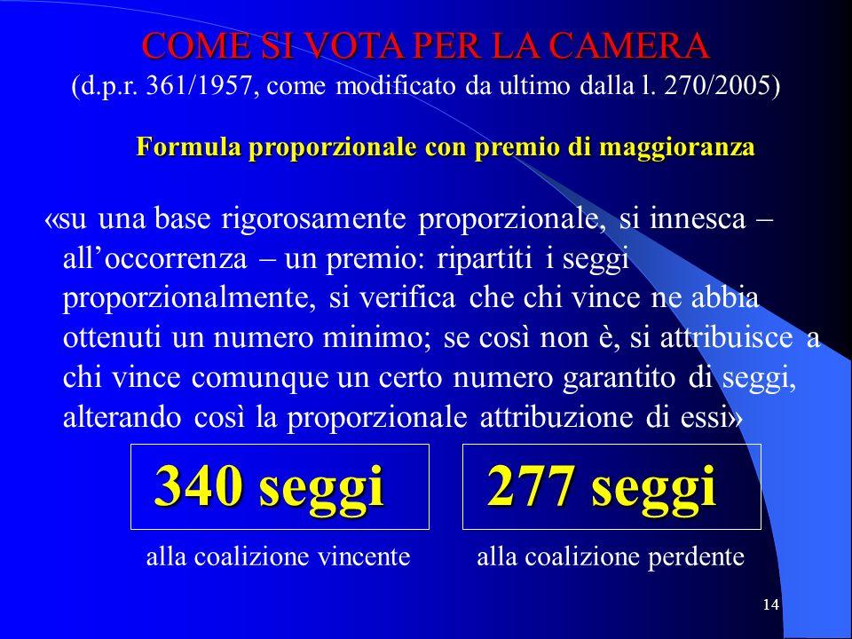 13 COME SI VOTA PER IL SENATO 1993-2005 base territoriale: 20 regioni candidati nei collegi uninominali (maggioritario e proporzionale) voto unico (pe