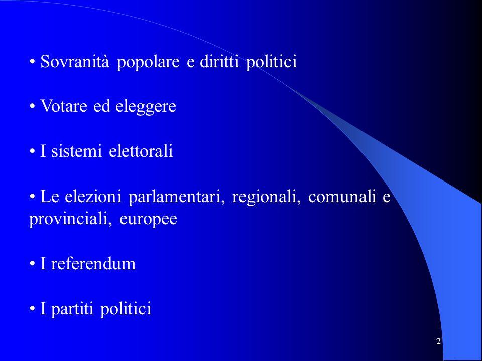 2 Sovranità popolare e diritti politici Votare ed eleggere I sistemi elettorali Le elezioni parlamentari, regionali, comunali e provinciali, europee I referendum I partiti politici