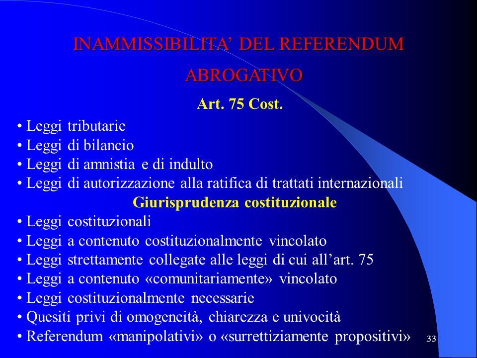 32 Raccolta firme 500.000 elettori o deliberazioni 5 consigli regionali Giudizio di legittimità Ufficio centrale per il referendum (Corte di cassazion